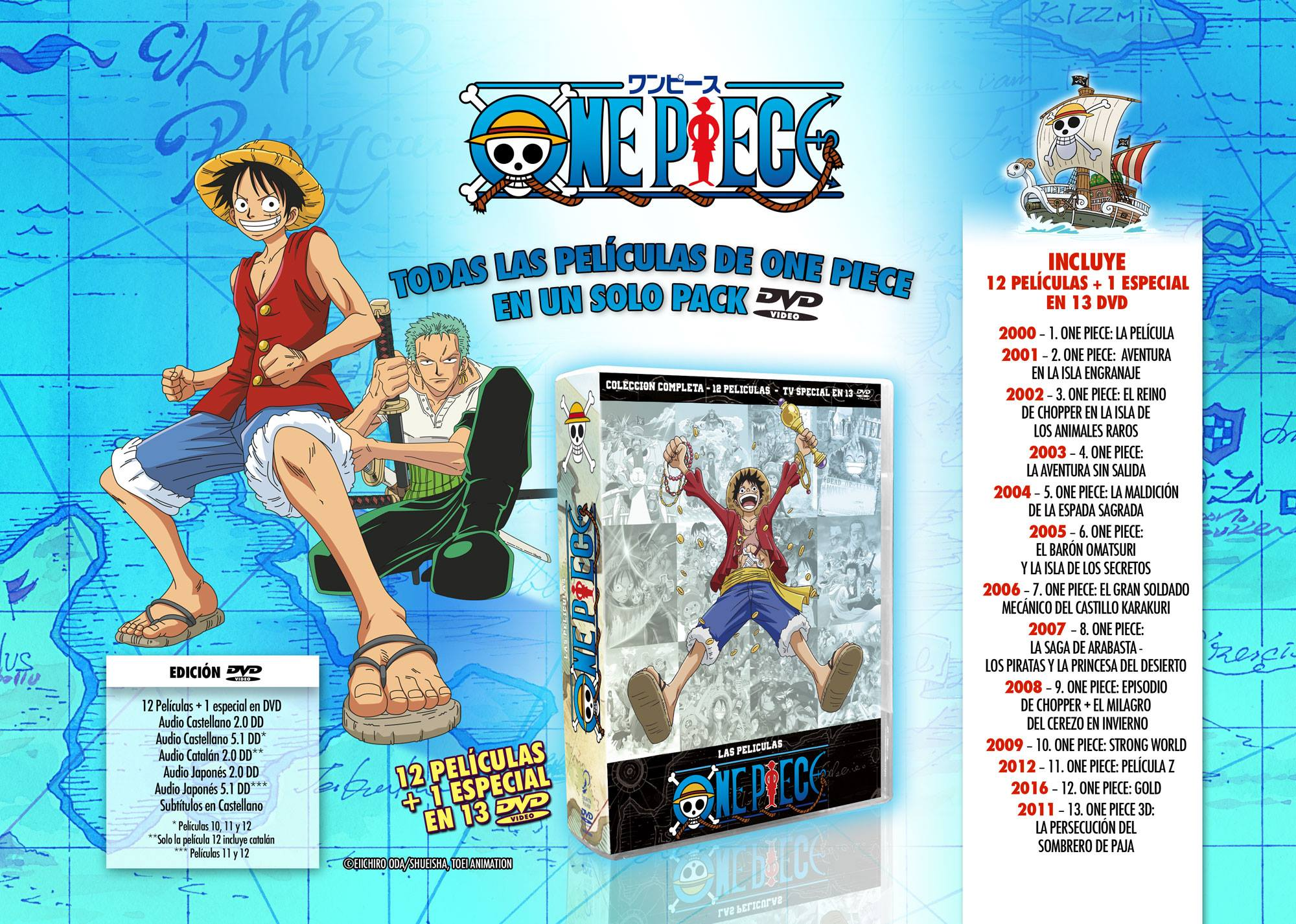 Todas las películas en pack DVD de One Piece a la venta el 17 de octubre